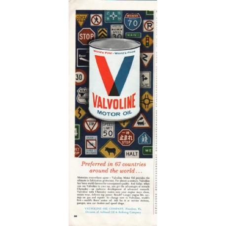 "1964 Valvoline Motor Oil Ad ""Preferred in 67 countries"""