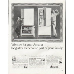 "1964 Amana Refrigerator Ad ""We care"""