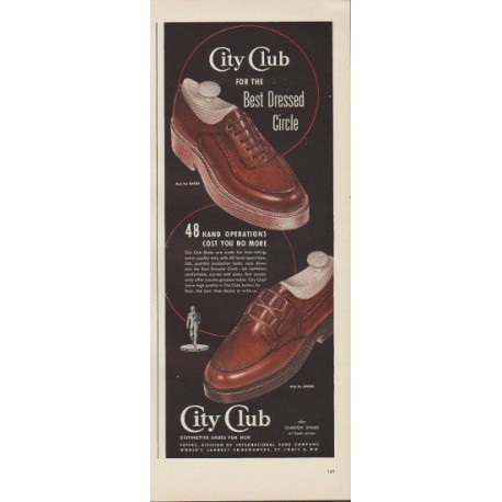 "1949 City Club Shoes Ad ""for the Best Dressed Circle"""