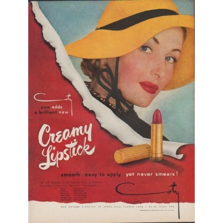"1949 Coty Lipstick Ad ""Creamy Lipstick"""