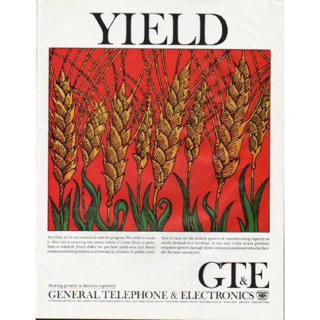 """1965 General Telephone & Electronics Ad """"Yield"""""""