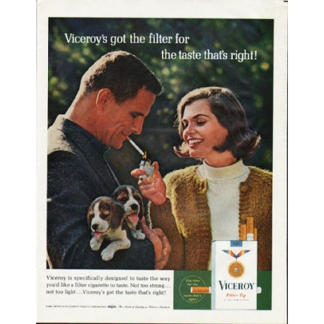 "1965 Viceroy Cigarettes Ad ""taste that's right"""