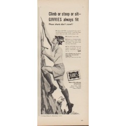 """1949 Hanes Ad """"Climb or stoop or sit -- GIVVIES always fit"""""""