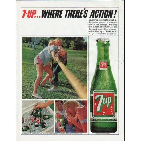 """1965 7-Up Ad """"Where There's Action"""""""