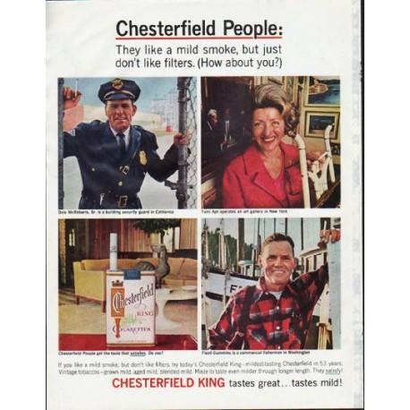 """1965 Chesterfield Cigarettes Ad """"mild smoke"""""""