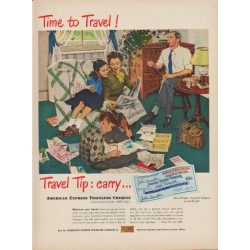 "1949 American Express Travelers Cheques Ad ""Time to Travel!"""