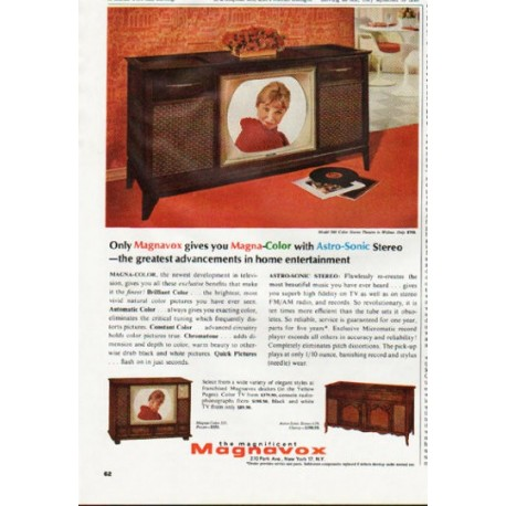 """1965 Magnavox Television Ad """"Magna-Color with Astro-Sonic"""""""