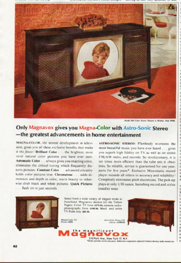 """1965 Magnavox Television Vintage Ad """"Magna-Color with ..."""