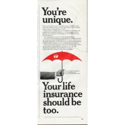 "1965 Travelers Insurance Ad ""You're unique"""