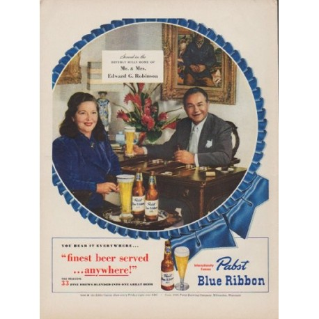 "1949 Pabst Blue Ribbon Beer Ad ""finest beer"""