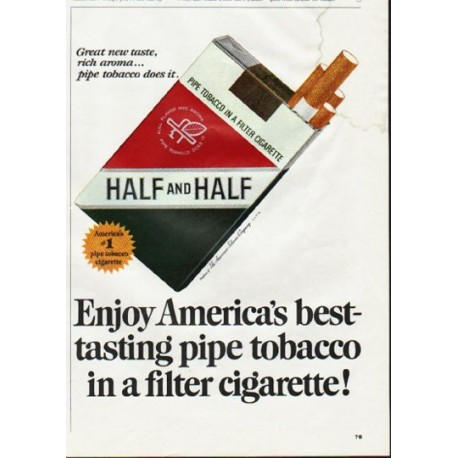 "1965 Half and Half Cigarettes Ad ""America's best-tasting"""