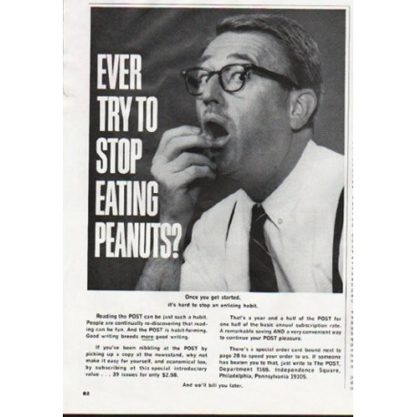 """1965 The POST Ad """"stop eating peanuts"""""""