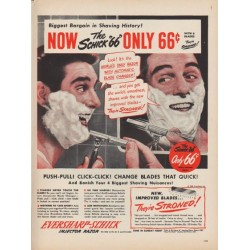 "1949 Eversharp-Schick Ad ""Biggest Bargain in Shaving History!"""