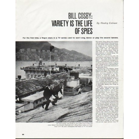"""1965 Bill Cosby Article """"Variety is the Life of Spies"""""""