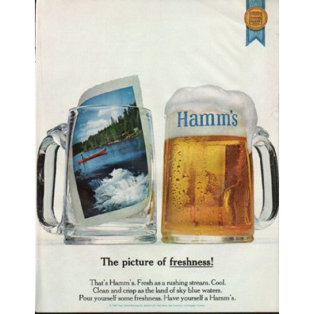 """1965 Hamm's Beer Ad """"picture of freshness"""""""