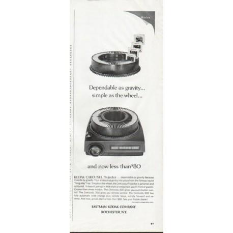 """1965 Eastman Kodak Company Ad """"Dependable as gravity"""""""