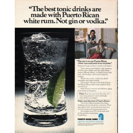 "1980 Puerto Rican Rums Ad ""best tonic drinks"""