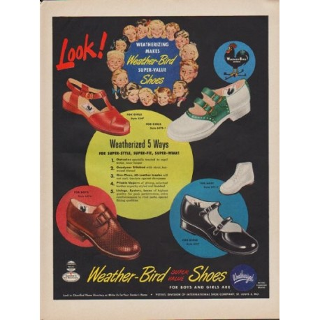 """1949 Weather-Bird Shoes Ad """"Look!"""""""