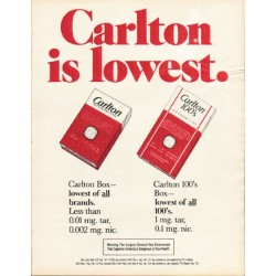 "1980 Carlton Cigarettes Ad ""lowest."""