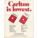 """1980 Carlton Cigarettes Ad """"lowest."""""""