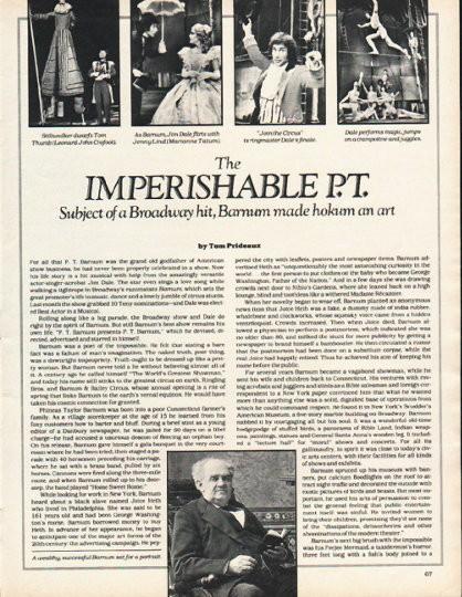 1980 P T Barnum Vintage Article Quot Imperishable P T Quot By