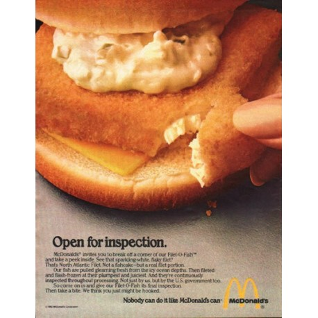 "1980 McDonald's Ad ""Open for inspection."""