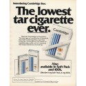 """1980 Cambridge Cigarettes Ad """"lowest tar cigarette"""""""