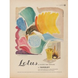 "1949 Lotus perfume by Yardley Ad ""a colorful new perfume"""