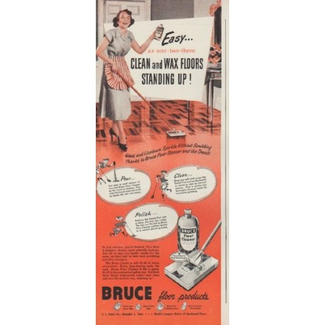 "1949 Bruce floor products Ad ""Easy ... as one-two-three"""