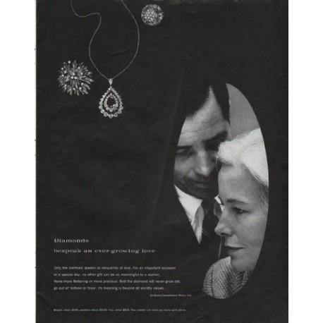 """1965 De Beers Diamonds Ad """"ever-growing love"""""""