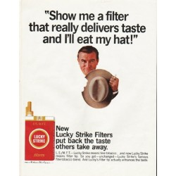 "1965 Lucky Strike Cigarettes Ad ""Show me a filter"""