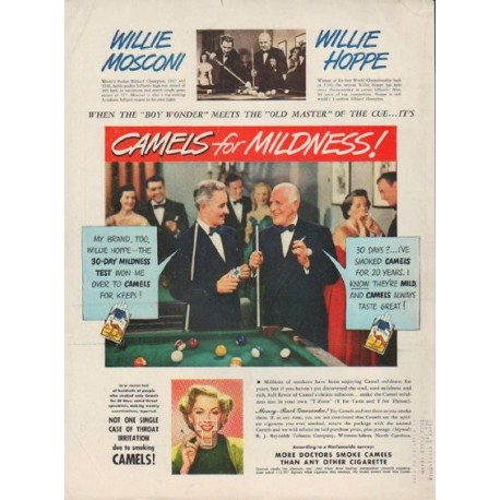 "1949 Camel Cigarettes Ad ""Willie Mosconi and Willie Hoppe"""