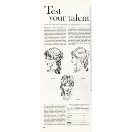 "1965 Art Instruction Schools Ad ""Test your talent"""