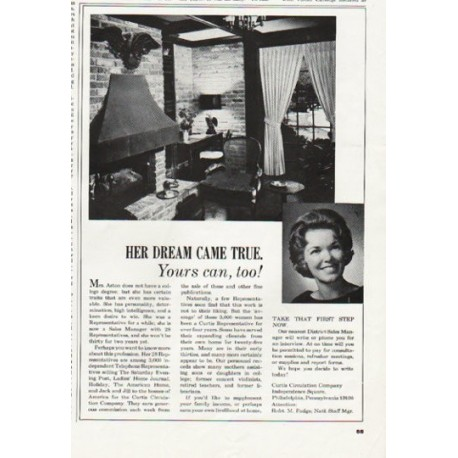"1965 Curtis Circulation Company Ad ""Her Dream"""