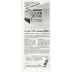 "1965 The Settlement Cookbook Ad ""Just Published"""