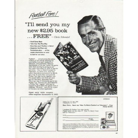 "1965 Phillies Tips Cigars Ad ""Football Fans"""