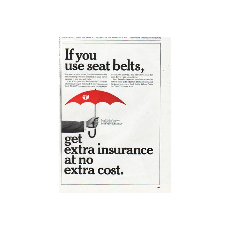 """Pet Seat Covers >> 1965 Travelers Insurance Vintage Ad """"seat belts"""""""