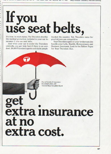 "1965 Travelers Insurance Vintage Ad ""seat belts"""