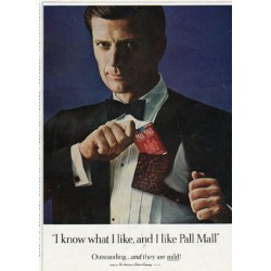 "1965 Pall Mall Cigarettes Ad ""I know what I like"""