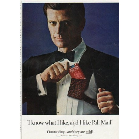 "1965 Pall Mall Cigarettes Ad ""I know what I like"""