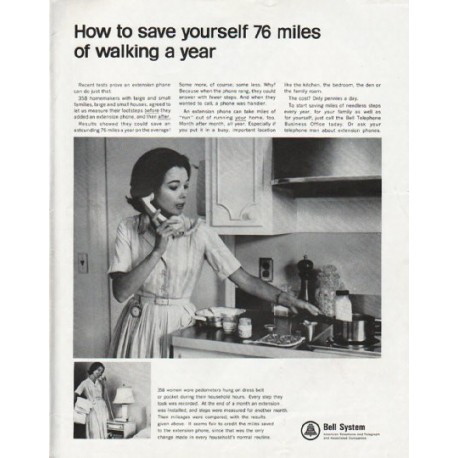 """1965 Bell System Ad """"76 miles of walking"""""""