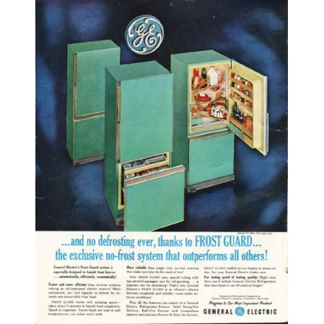 """1961 General Electric Ad """"and no defrosting ever"""""""