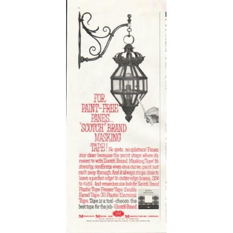 """1961 Scotch Brand Masking Tape Ad """"paint-free panes"""""""