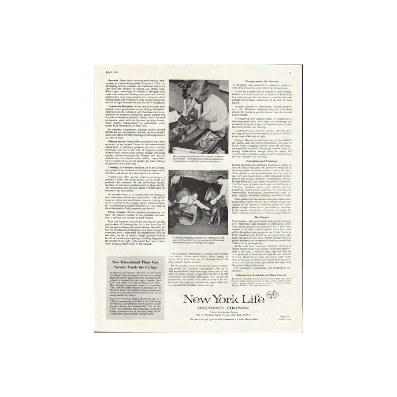 1961 New York Life Insurance Company Vintage Ad Quot Veterinarian Quot