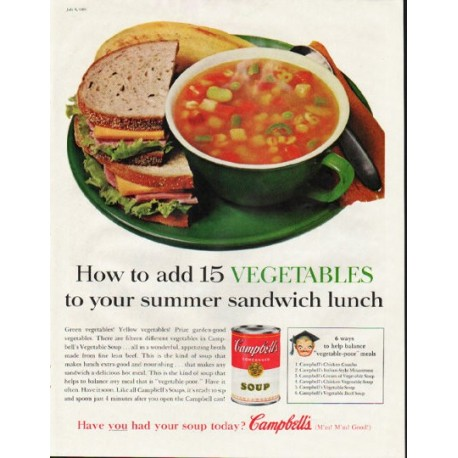 "1961 Campbell's Soup Ad ""add 15 Vegetables"""