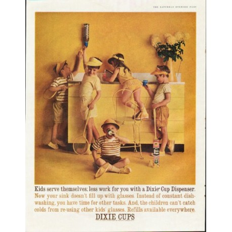 "1961 Dixie Cups Ad ""Kids serve themselves"""