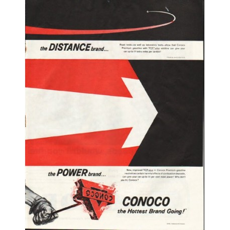 "1961 Conoco Gasoline Ad ""the Distance brand"""