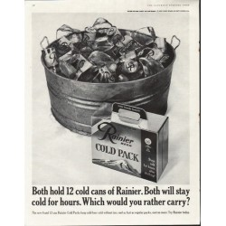 "1961 Rainier Beer Ad ""cold for hours"""