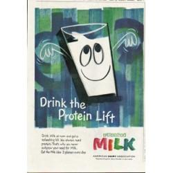 "1961 American Dairy Association Ad ""Drink Milk at noon"""