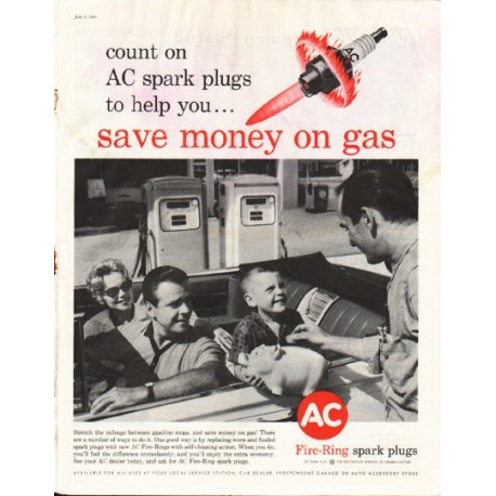 "1961 AC Spark Plugs Ad ""save money on gas"""